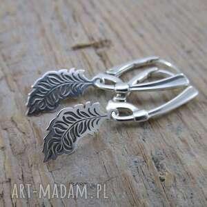 Piórko -kolczyki irart piórko, srebro