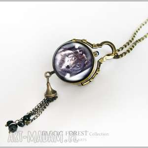 Prezent Medalion, zegarek - Szary wilk antyczne złoto, zegarek, medalion, wisiorek