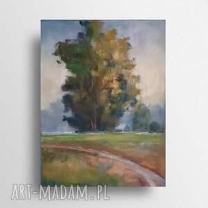 pejzaż z drzewem-praca wykonana pastelami, pejzaż, pastele, drzewo