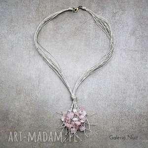 kwarc różowy - naszyjnik lniany, pastelowy jasny, naturalny ekologiczny boho