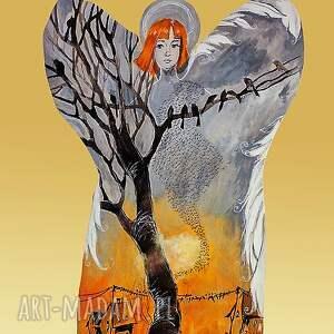 adriana laube art wyjątkowy obraz na drewnie anioł wędrownych ptaków, anioł, drewno