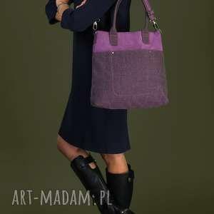 fiella - duża torba fiolet i wrzosowa plecionka, modna, klasyczna, uniwersalna