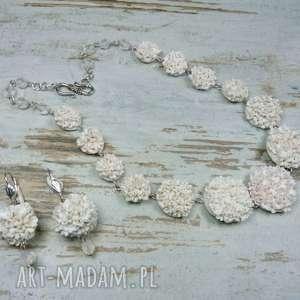 Biżuteria ślubna - komplet z maleńkimi kwiatuszkami, biżuteria-ślubna, ślub