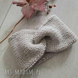 ręcznie wykonane opaski szeroka opaska turban podwójnie robiona, szary jasny