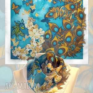 apaszka jedwabna malowana pawie pióra, jedwabna, ręcznie malowane