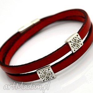 hand made bransoletka skóra magnetoos double quadro red