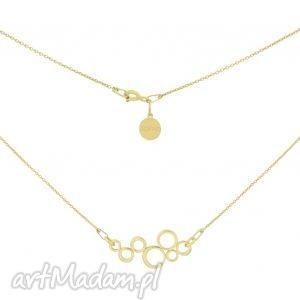 Złoty naszyjnik z ozdobą kółeczek, naszyjnik, łańcuszek, złoty, zawieszka, modowy