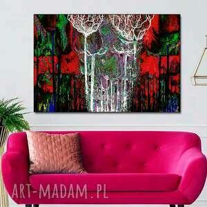 obraz na płótnie kolorowy las 120x80, las, z czerwienią, artystyczne, drzewa