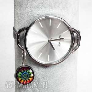 ZEGAREK MANDALA :: modny zegarek damski na rękę, z zawieszką, srebrny-kolor
