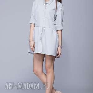 handmade sukienki luźna sukienka h005 szary