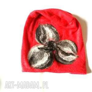 handmade czapki czapka wełniana filcowana czerwona zimowa