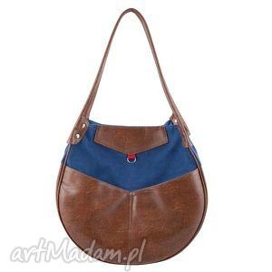 kaya - duża torba granat, brąz i czerwień, duża, pakowna, elegancka, prezent