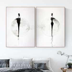 plakaty zestaw 2 grafik 50x70 cm wykonanych ręcznie, abstrakcja, elegancki