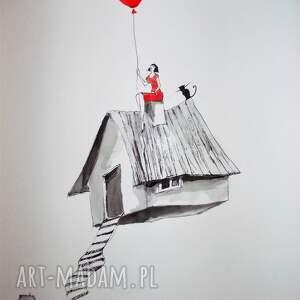 dekoracje grafika akwarelą i piórkiem latający domek, grafika, rysunek, kot, kobieta