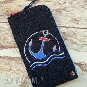 Prezent Filcowe etui na telefon - kotwica, smartfon, pokrowiec, haft, marynarskie