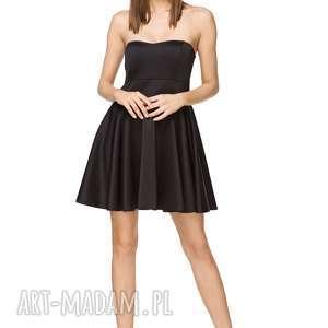 Elegancka sukienka rozkloszowana T240, czarna, sukienka, elegancka,