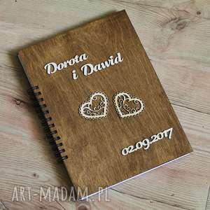 księga gości - imiona i serduszka, księga, gości, drewno, serce, rustykalne