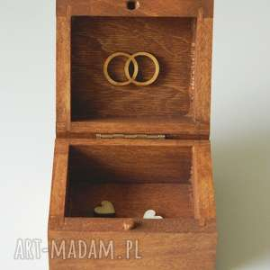 Pudełko szkatułka na obrączki ślubne, serca, serce