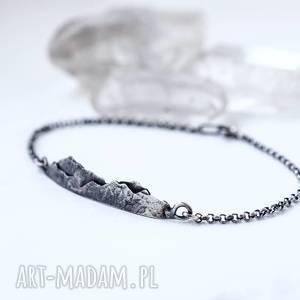 bransoletka z górami, góry, oksydowane srebro, minimalizm, srebrna