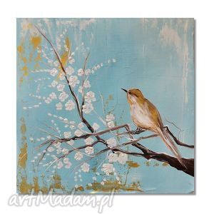 wiosennie, nowoczesny obraz ręcznie malowany, obraz, ręcznie, ptak