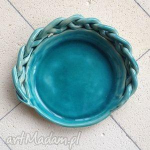 gliniakimacieja turkusowa podstawka pod świecę, ceramika, handmade, glina, podstwka