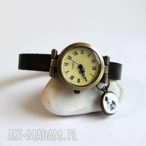 zegarek - wilk skórzany, czarny, zegarek, bransoleta, wilk, grafika