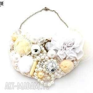 royal naszyjnik handmade - naszyjnik, handmade, beżowy, biały, ecru, ślubny