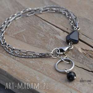Bransoletka mini z czarnym spinelem, srebro, spinel