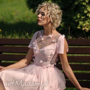 sukienka tiulowa z koronką 3d/rz, tiulowa, koronka, rozkloszowana, mini, wesele