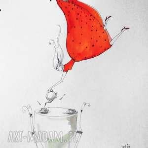 dekoracje herbata praca akwarelą i piórkiem artystki plastyka adriany laube, akwarela