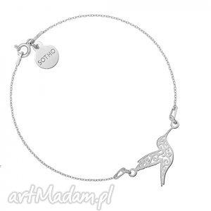 sotho srebrna bransoletka z ażurowym kolibrem - minimalistyczny, koliberek