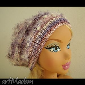 handmade czapki czapeczka i 2 broszki fioletowo-różowo-białe