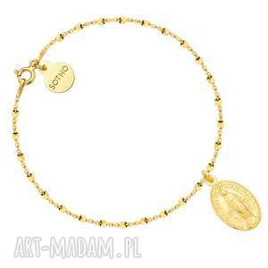 złota bransoletka z medalikiem, bransoletka, łańcuszek, medalik, zółte, złoto