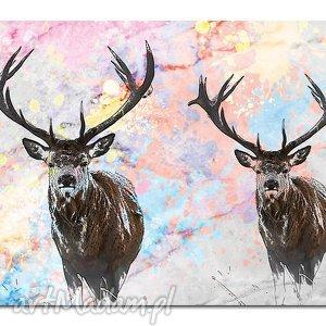 obraz jeleń 1 - 120x70cm na płótnie, obraz, jeleń, jelenie, zwierzęta