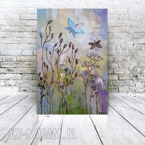 ŁĄKA Z NIEBIESKIMI MOTYLAMI-obraz akrylowy formatu 20/30 cm, łąka, obraz, motyle