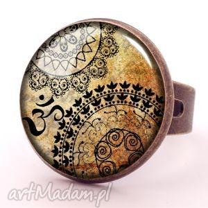 mantra - pierścionek regulowany, mantra, mandala, orientalny, pierścionek, regulowany