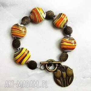 bransoletka z porcelanowych korali w114, mutikolor, prezent wiosenny, porcelana