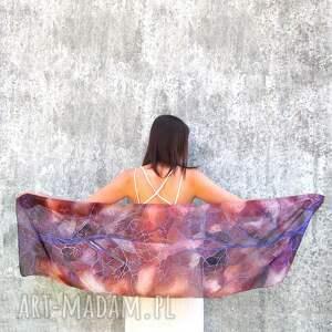 brązowy szal jedwabny z fioletowymi drzewami, jedwabny, malowane apaszki