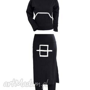 b w-komplet, spodnie, spódnicia, bluza, kaptur, bawełniany, ekstrawagancki