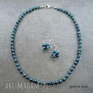 komplety perły słodkowodne - lniana biżuteria, naturalne, perły, perełki, drobne