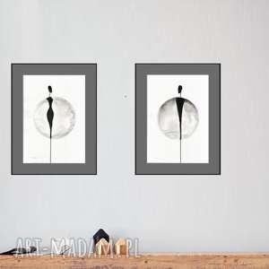 zestaw 2 oryginalnych grafiki czarno-białych A3, abstrakcja, akt, elegancki