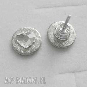 serduszko kolczyki, srebro, swarovski, zmatowione