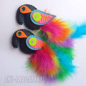Prezent Rajski ptak - broszka z filcu i piór, filc, ptak, papuga, broszka, pióra