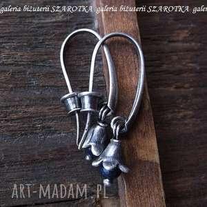 leśne dzwonki długie kolczyki z lapisu i srebra, lapis, lazuli, srebro, oksydowane