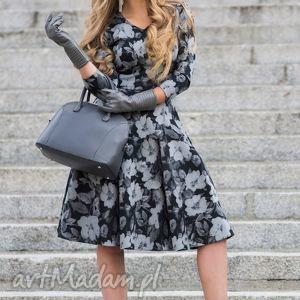 Sukienka FLER Midi Dafne, sukienka, midi, rozkloszowana, kieszenie, kwiaty, szara