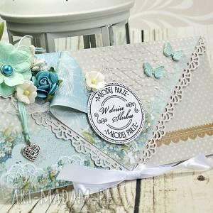 Kartka ślubna - delikatność błękitu scrapbooking kartki shiraja