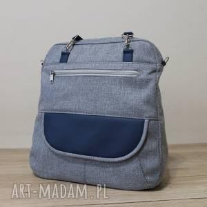Plecak torba listonoszka - tkanina szara i skóra granatowa