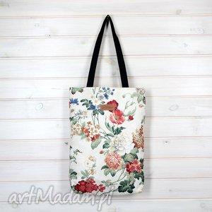 kolorowa torba na ramię w kwiaty, torebka, pojemna, bawełna, zapinana, wiosenna