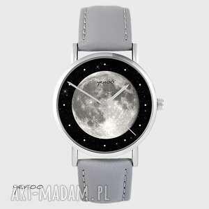ręcznie wykonane zegarki zegarek yenoo - księżyc szary, skórzany