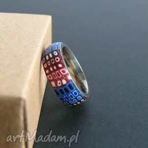 Stalowa obrączka z polymer clay, obrączki, pierścionki, retro, geometryczne, czerwony